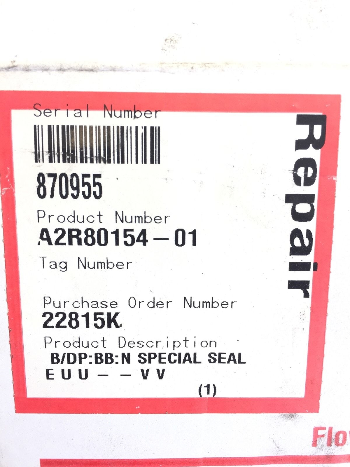 FLOWSERVE PN: A2R80154-01 PUMP SEAL REPAIR KIT NEW IN BOX (B50) 2