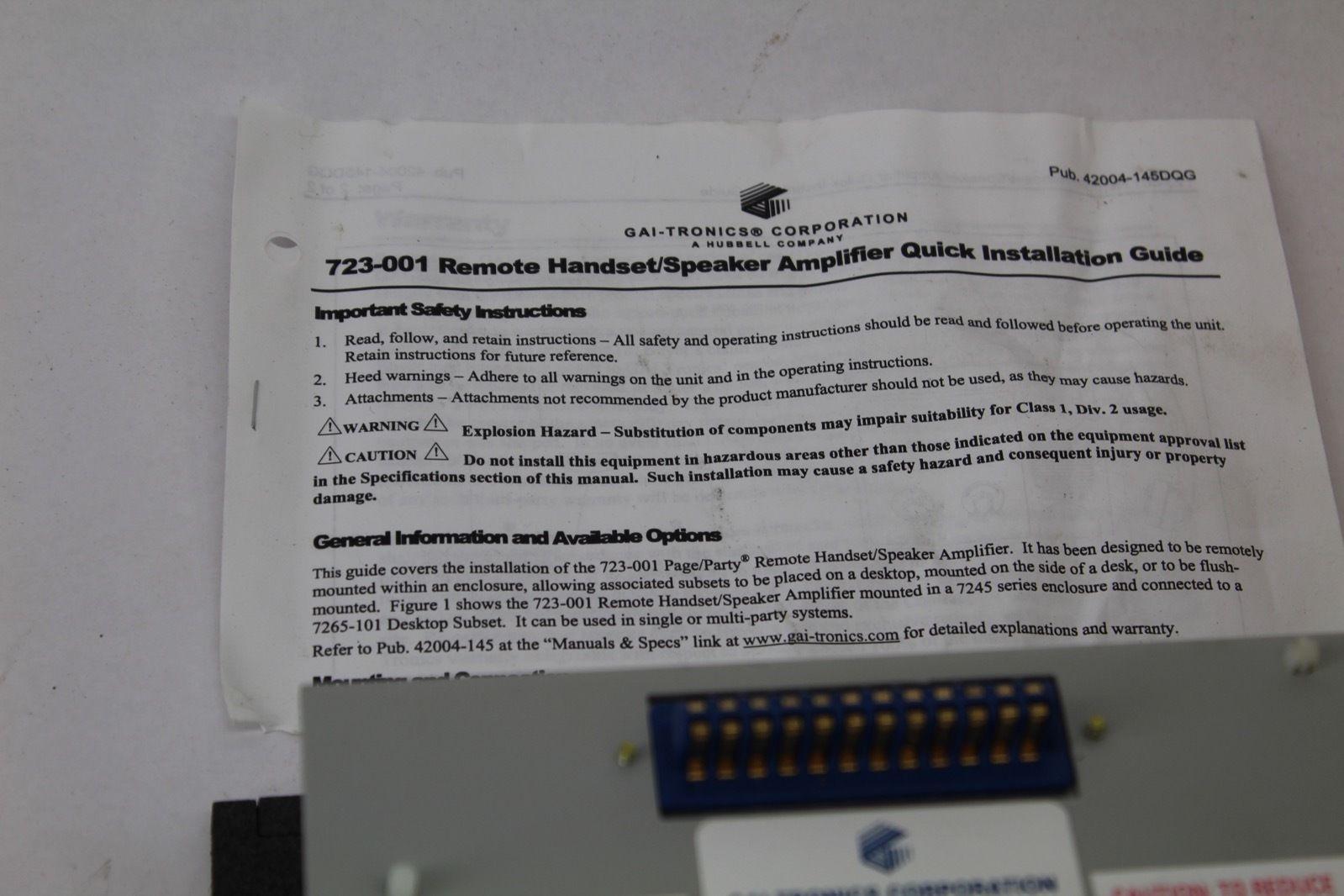GAI-Tronics Amplifier Remote GTK85104B *NEW* (B232) 4
