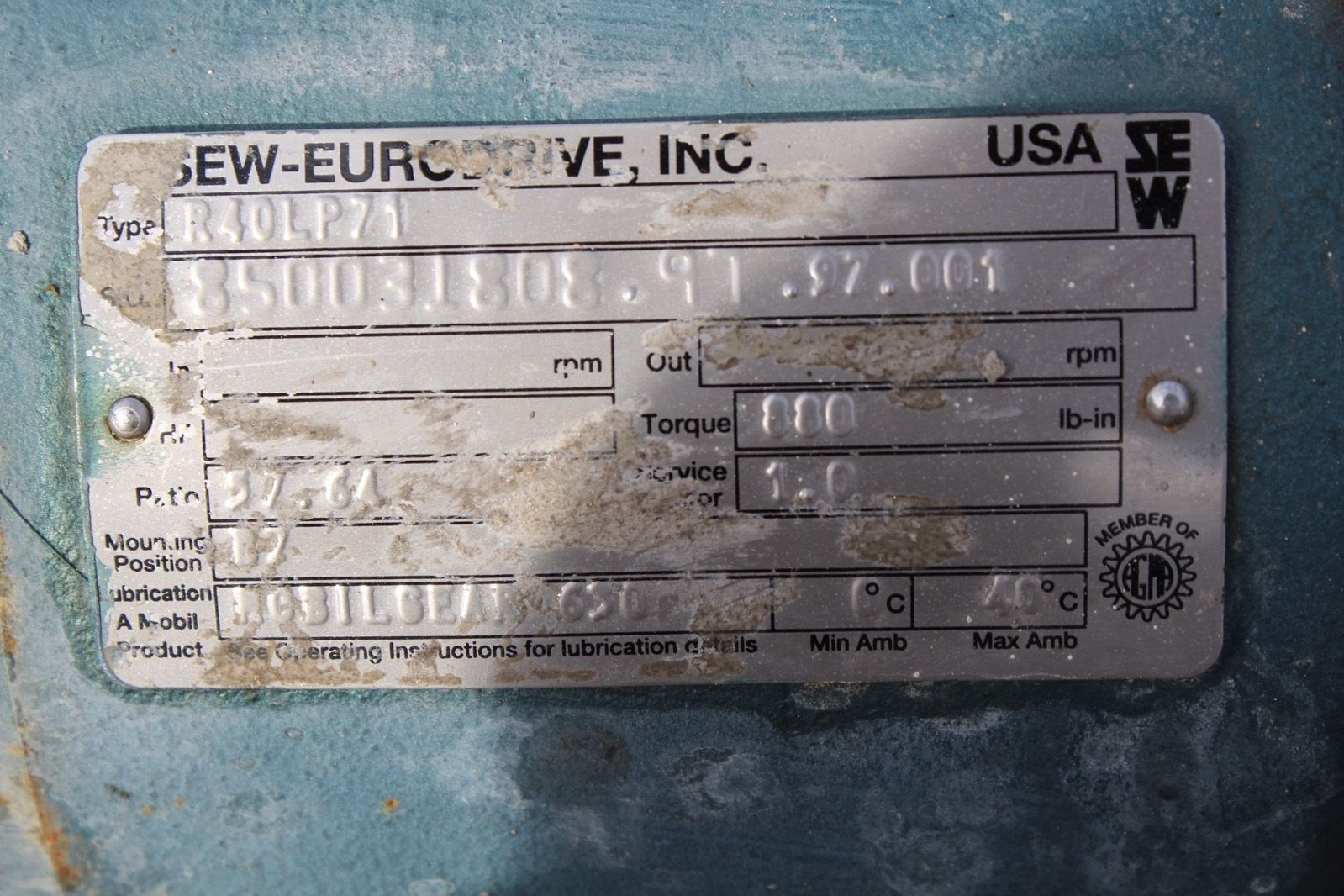 Sew-eurodrive R40LP71 Converter with DFT71D4 Motor *used* (Connex) 2