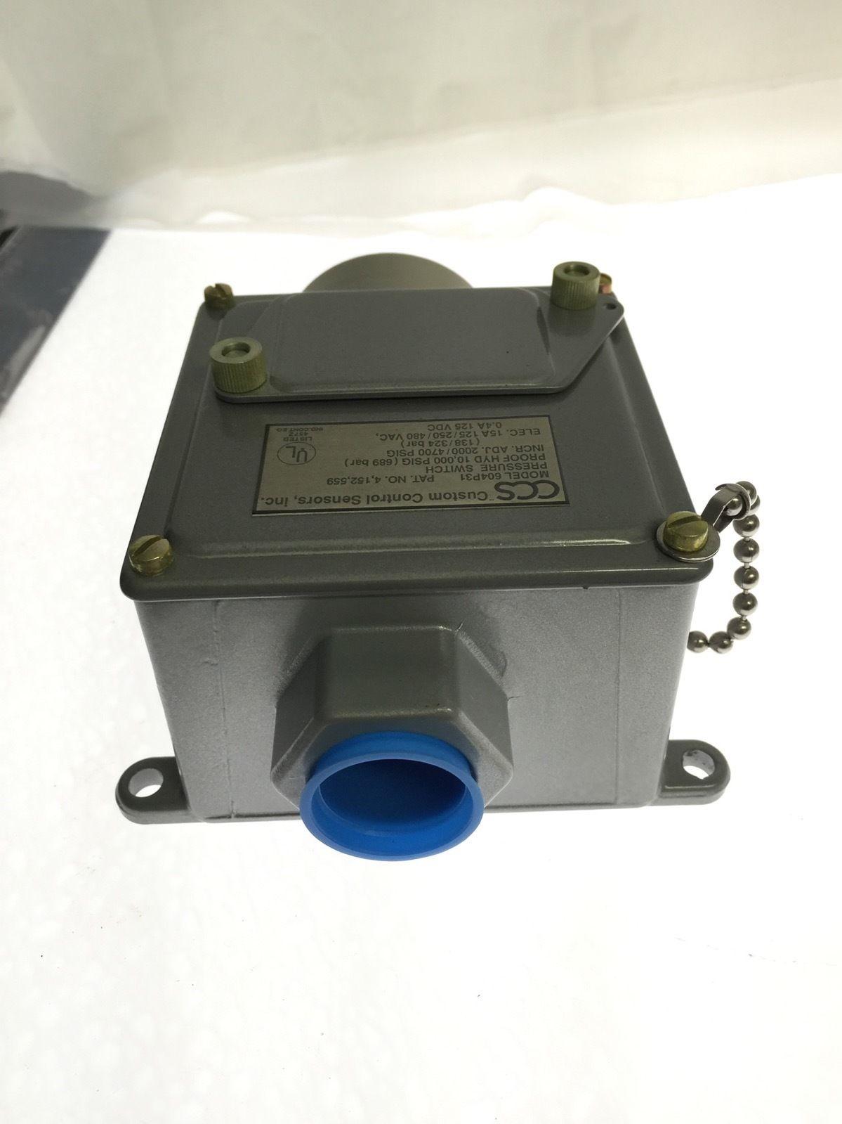CUSTOM CONTROL SENSORS 604P31 2000/4700 PSIG 15A PRESSURE SWITCH NEW IN BOX H89 2