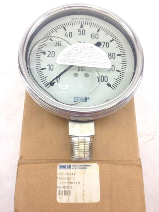 NEW IN BOX! WIKA 9832615 4� FILLED GAUGE 160PSI, 1/2NPT LM FAST SHIP!!! (B215) 1
