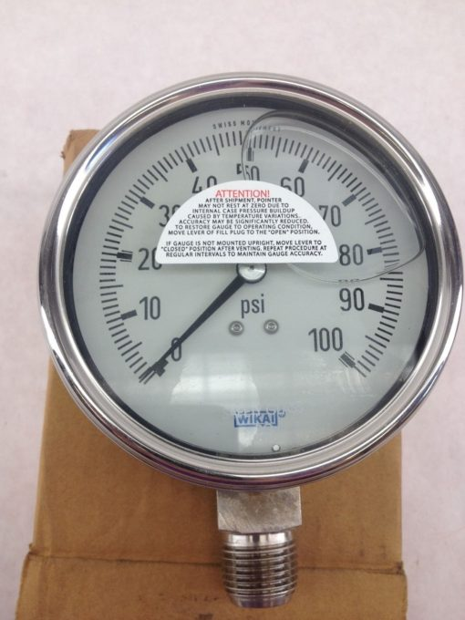 NEW IN BOX! WIKA 9832615 4� FILLED GAUGE 160PSI, 1/2NPT LM FAST SHIP!!! (B215) 2