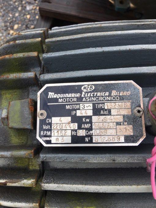 MAQUINARIA ELECTRICA BILBAO 3 PHASE MOTOR, 132S/6 1152 RPM 220/440 VAC (CONNEX) 2