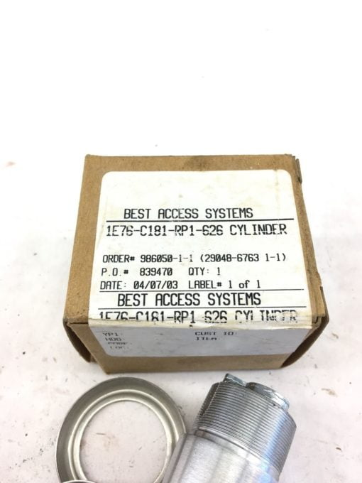 NEW IN BOX BEST ACCESS SYSTEMSÂ 1E76-C181-RP1-626 Tapered Mortise Cylinder, B323 1