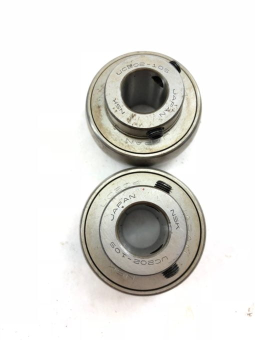 LOT OF 2 NSK UC202-10S UC204 UC202-105 METAL SHIELDED BALL BEARING INSERT (A875) 2