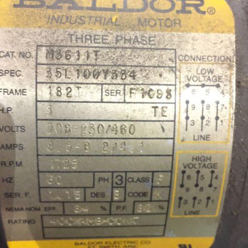 BALDOR M3611T 3HP 3PH 208-230/460V PHASE 3 1725 RPM ELECTRIC MOTOR (NP14) 2