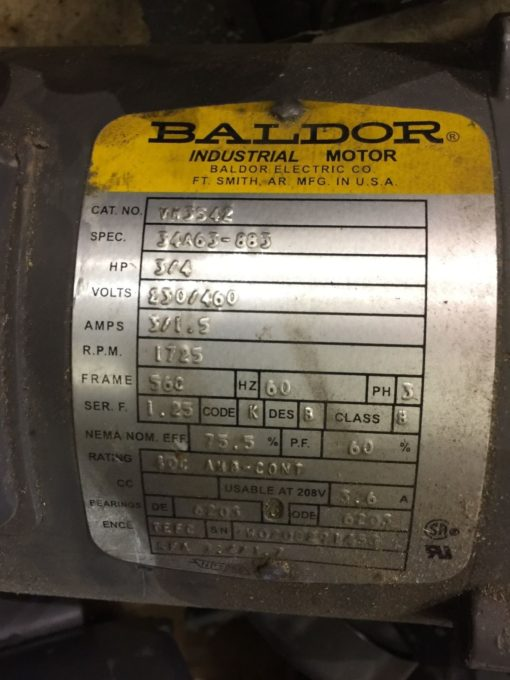 BALDOR RELIANCE VM3542 MOTOR .75 H