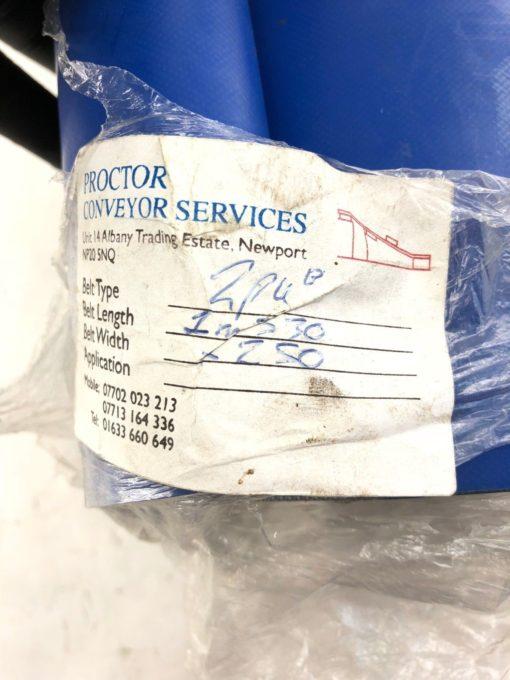 NEW PROCTOR CONVEYOR 2PU 1M530 LENGTH 250MM WIDTH CONVEYOR BELT, BLUE, (B419) 2