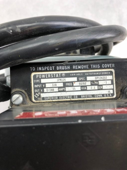 SUPERIOR ELECTRIC POWERSTAT VARIABLE AUTOTRANSFORMER 3PN126 1 PHASE (B418) 2