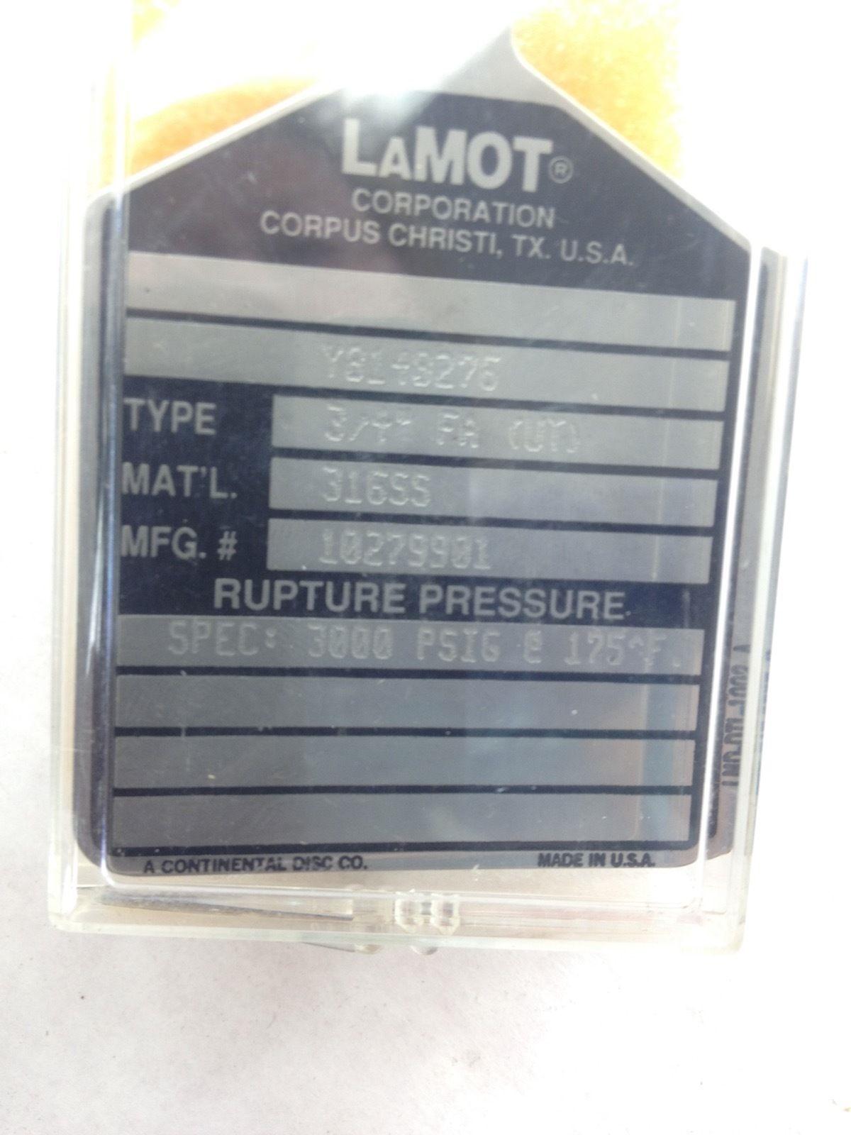 NIB! CONTINENTAL LAMOT 10279901 RUPTURE DISC 3/4� FA (UT) 3000PSIG 4-PK (H147) 1