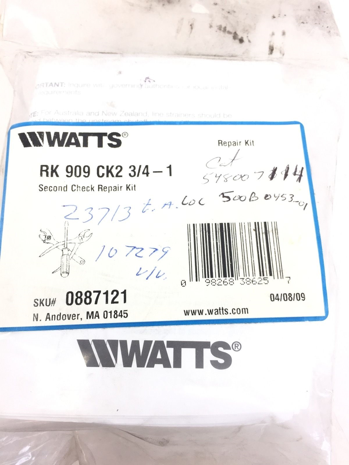 WATTS RK 909 CK2 3/4-1 SECOND CHECK REPAIR KIT 0887121 NEW IN BOX! (A415) 2