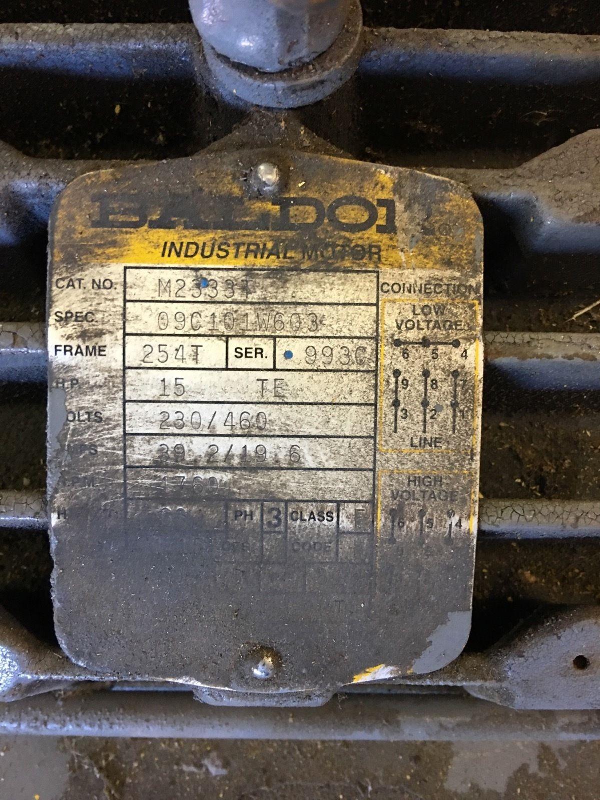 NEWÂ BALDOR M2331 3 PHASE INDUSTRIAL MOTOR 15 HP, 254T FRAME, 1760 RPM, (NP1) 2