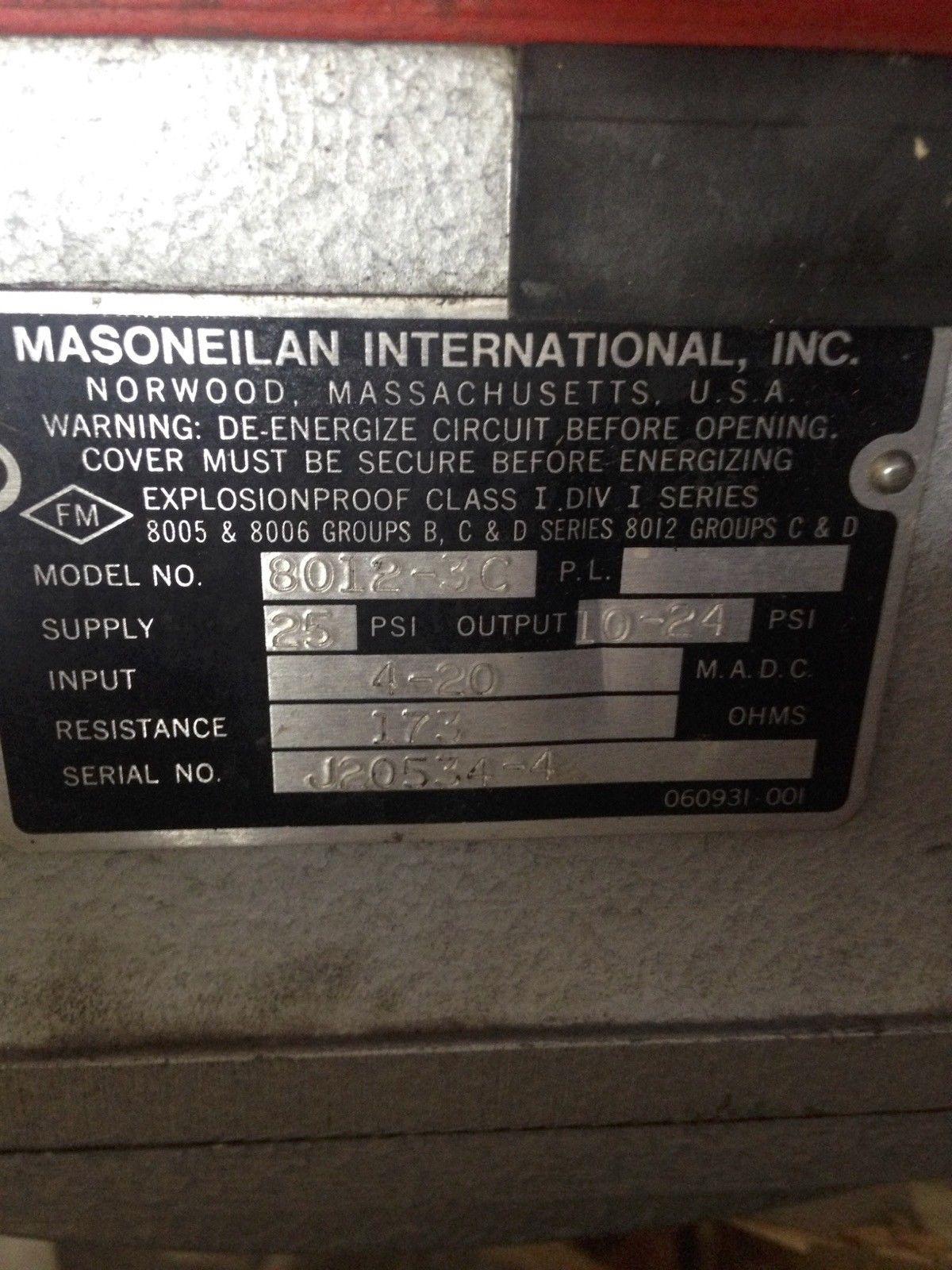 MASONEILAN 47-21124 MASONEILAN VALVE POSITIONER 8012-3C 3
