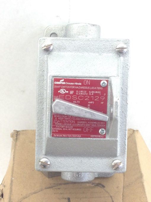 CROUSE-HINDS EDSC2129 SNAP SWITCH EXPLOSION PROOF 1-P 120VAC (B132) 1