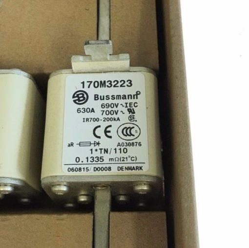 NEW BOX OF 6 COOPER BUSSMAN 170M3223 TYPOWER ZILOX FUSES, 630A, 690VAC, (F63) 2