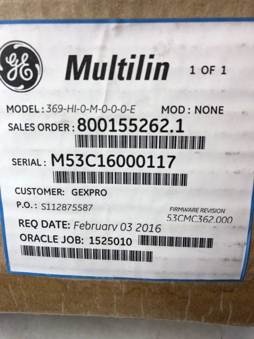 NEW IN BOX GE MULTILIN 369 MOTOR MANAGEMENT RELAY 369-HI-0-M-0-0-0-E (B451) 2