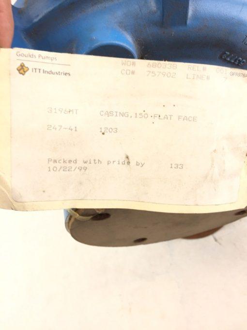 GOULDS MODEL 3196MT PUMP CASING 150 FLAT FACE 247-41 1203 (B400) 3