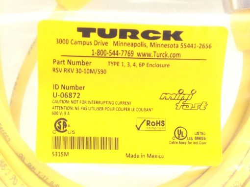 TURCK RSV RKV 30-10M/S90 MINI FAST CABLE ASSEMBLY STRAIGHT, MALE TO MALE (H64) 2