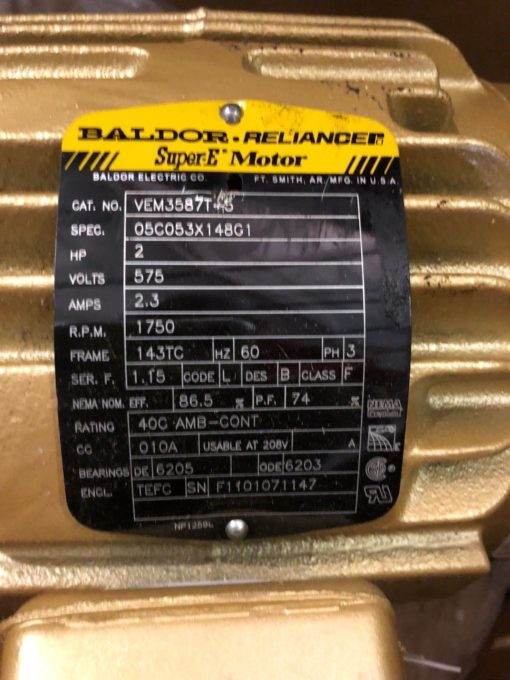 NEW IN BOX BALDOR VEM3587T-5 2 HP, AC MOTOR, 575V, 1750 RPM, 2
