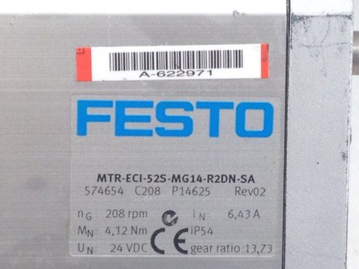 FESTO MTR-ECI-52S-MG14-R2DN-SA COMPACT INTEGRATED SERVO MOTOR 208RPM (B450) 2