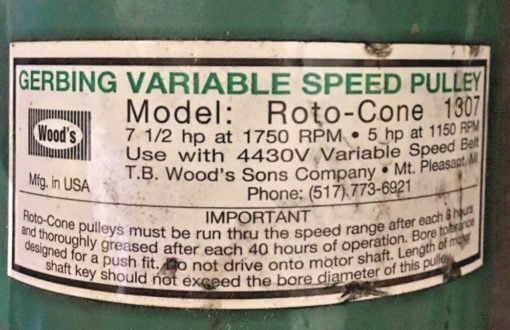 USED GERBING VARIABLE SPEED PULLEY TB WOODS ROTO CONE 1307, (CHEESE PALLET) 2